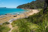 stock photo of deserted island  - Deserted Australian beach in the Northern beaches of NSW - JPG