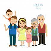 picture of grandparent child  - Vector illustration of happy family - JPG