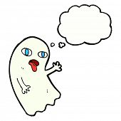 image of funny ghost  - funny cartoon ghost with thought bubble - JPG