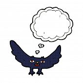 image of vampire bat  - cartoon spooky vampire bat with thought bubble - JPG