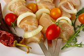 Raw Chicken Shish Kebab