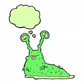 picture of grossed out  - cartoon gross slug with thought bubble - JPG