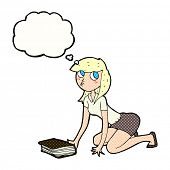 foto of pick up  - cartoon girl picking up book with thought bubble - JPG