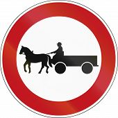 stock photo of carriage horse  - German sign prohibiting thoroughfare of horse drawn carriages - JPG