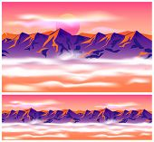 picture of mountain-high  - Stylized vector illustration on the theme of mountains mountain ranges traveling and wandering - JPG