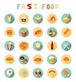stock photo of meat icon  - fast food colorful flat design icons set - JPG