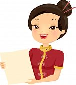 stock photo of chinese menu  - Illustration of a Female Chinese Restaurant Employee Holding a Menu - JPG