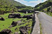 picture of gap  - Mountains at Gap of Dunloe with bridge in behind Ireland - JPG