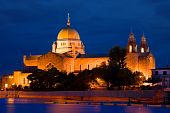 foto of galway  - Galway Cathedral illuminated at night View From The Corrib River Ireland - JPG
