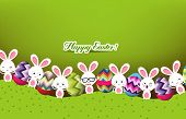 stock photo of bunny costume  - Happy easter eggs and bunny decoration and background - JPG