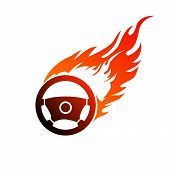 picture of steers  - Reddish orange symbol burning automobile steering  for your design - JPG