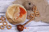 Постер, плакат: Pancakes With Red Caviar And Drying