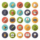 stock photo of  art  - Art and design flat icon vector collection - JPG
