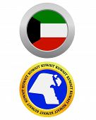 pic of kuwait  - button as a symbol KUWAIT flag and map on a white background - JPG