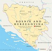 stock photo of luka  - Bosnia and Herzegovina Political Map with capital Sarajevo - JPG