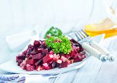 picture of beet  - beet salad on plate and on a table - JPG