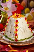 foto of easter candy  - Traditional Easter quark dessert with the candied fruits - JPG