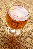 image of malt  - Glass full of light beer standing on barley malt grains - JPG