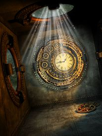 picture of steampunk  - Fantasy scene with steampunk style in the sky - JPG