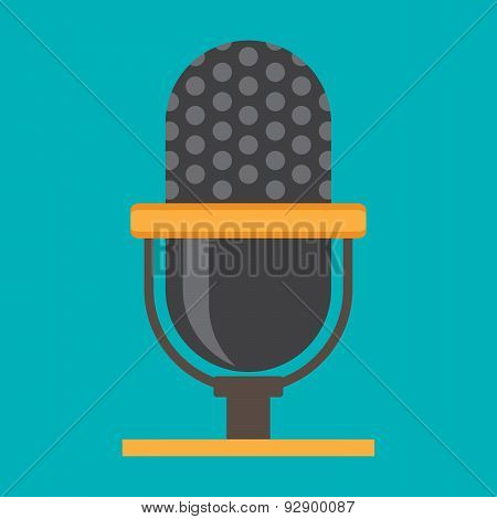 Microphone Icon, Classic Microphone Symbol On Color Background