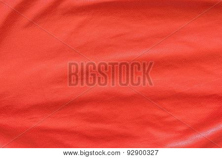 Red Leather With Crumpled Grained Texture
