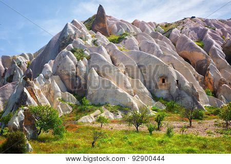 Beautiful landscape with pink rocks in Cappadocia, Turkey.