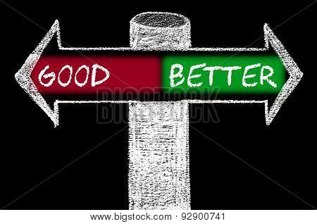 Opposite Arrows With Good Versus Better