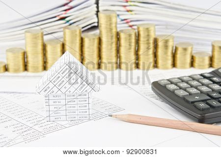 House And Pencil With Calculator On Finance Account
