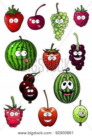 Fresh cartoon berries and fruits