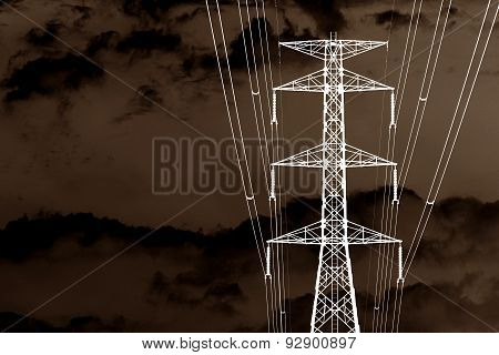 Brown Of High Voltage Transmission Towers