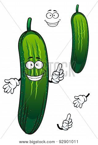 Cartoon funny green cucumber vegetable