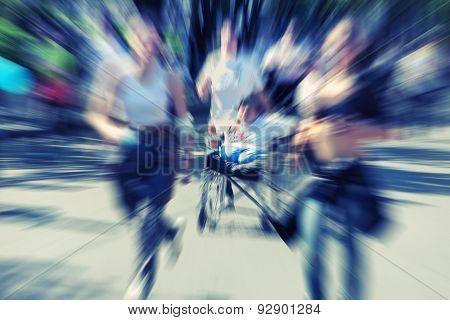 Abstract Background. Marathon With The Participation Of Disabled Persons In Wheelchair - Motion Blur