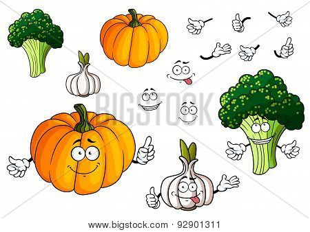 Cartoon pumpkin, garlic and broccoli vegetables