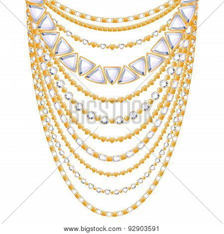 Many chains golden metallic necklace.