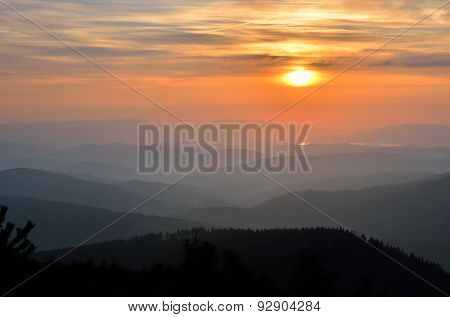 Sunrise in mountains.