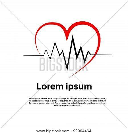 Heart Pulse Logo Red Icon Vector