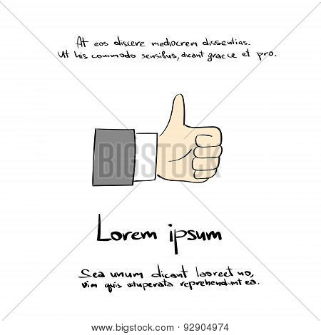 Thumb Up Hand Draw Color Like Icon Vector