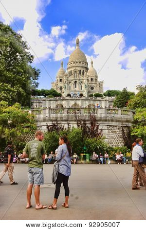 Paris, France -  August 19, 2014.  Sacre Coeur Basilica In Summer Day. Large Medieval Cathedral. Bas