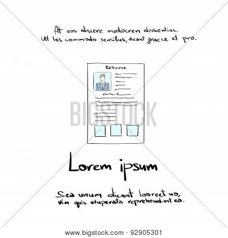 Curriculum Vitae Document Hand Draw Resume CV Profile