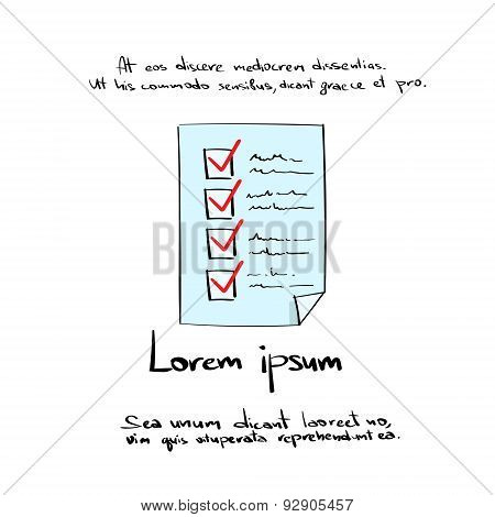 Check List Paper Document Hand Draw Color Icon