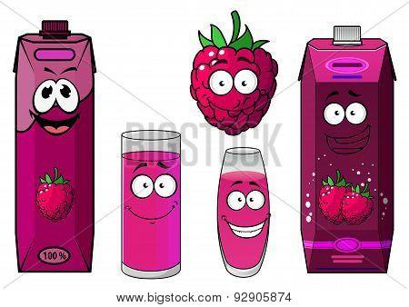 Raspberry fresh fruit and juice