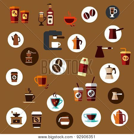 Flat takeaway coffee cups, beans, pots icons