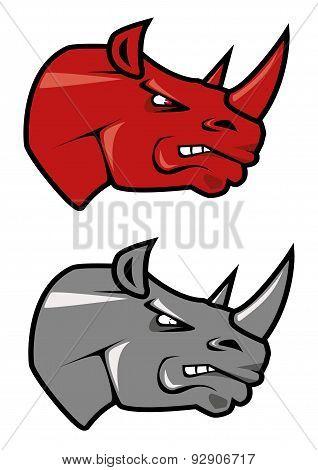 Cartoon red and gray rhinoceros mascots