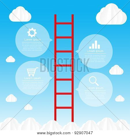 Ladder To Sky And Cloud Infographic Data Bubble Template - Vector Illustration