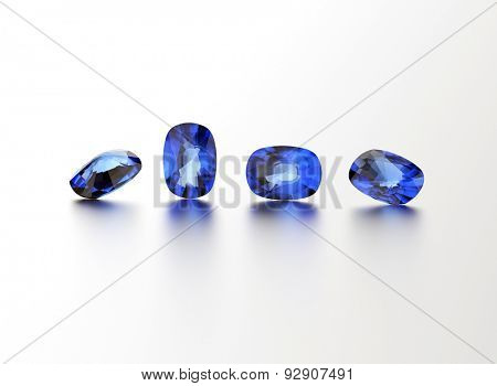 Sapphire. Different shape gemstone on  white. Jewelry background