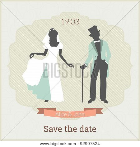 Save the date card template with bride and groom in retro style