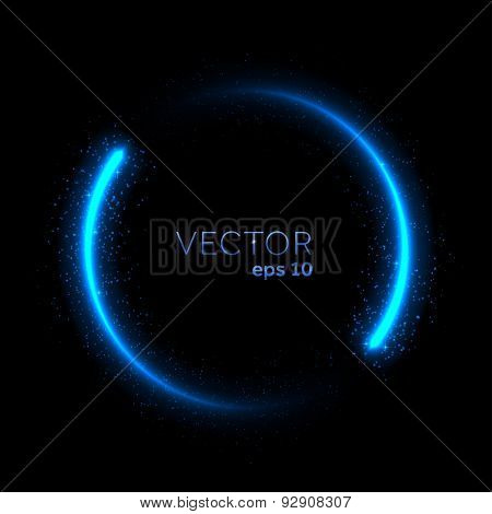 Double neon blue glittering star dust circle. Vector illustration