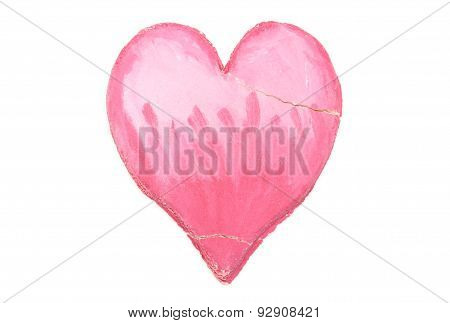 Valentine Broken Heart Of Salt Dough On White Background