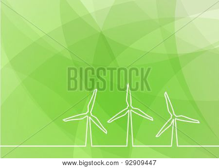 wind turbine green abstract background