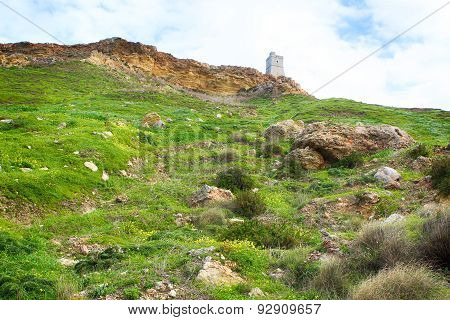 View Of Tower And Cliff In Malta